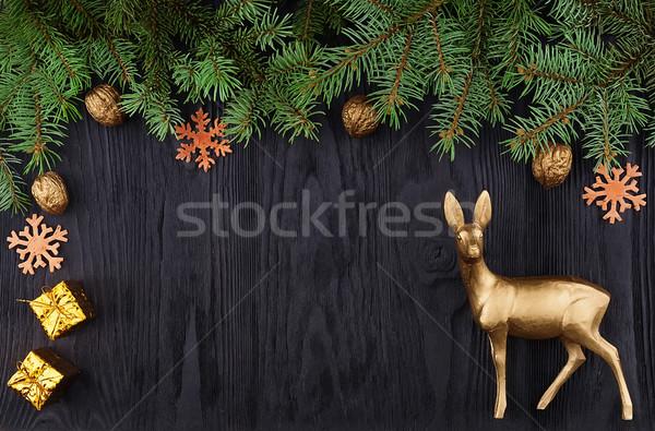 Christmas frame top view Stock photo © Coffeechocolates