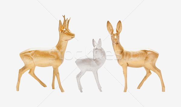 Carved wooden deer isolated Stock photo © Coffeechocolates
