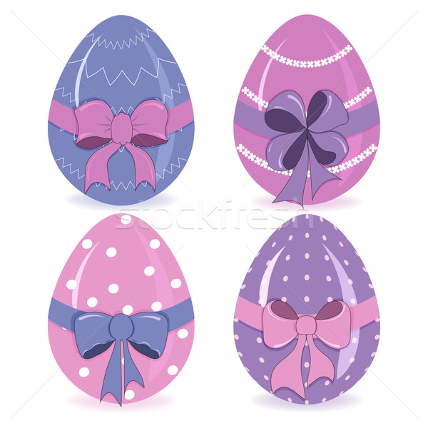 Hand-drawing cute easter eggs with a bow vector Stock photo © Coffeechocolates