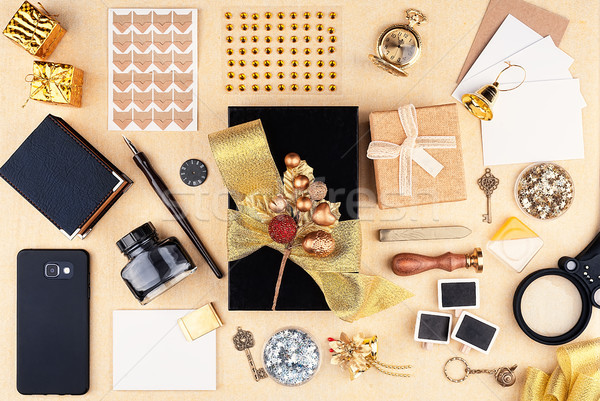 Gift wrap in the workplace Stock photo © Coffeechocolates