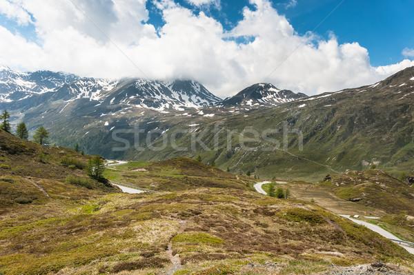 Panoramic view on Simplon Pass Stock photo © Coffeechocolates