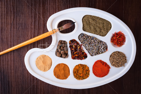 Palette of colors of herbs and spices Stock photo © Coffeechocolates
