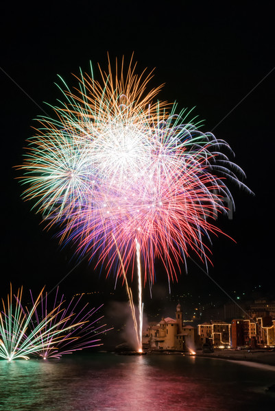 Fireworks in the village Camogli, Italy Stock photo © Coffeechocolates