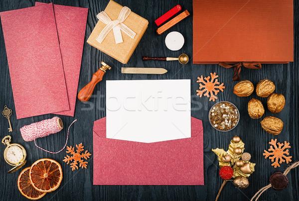 Natal cartas topo ver modelo Foto stock © Coffeechocolates