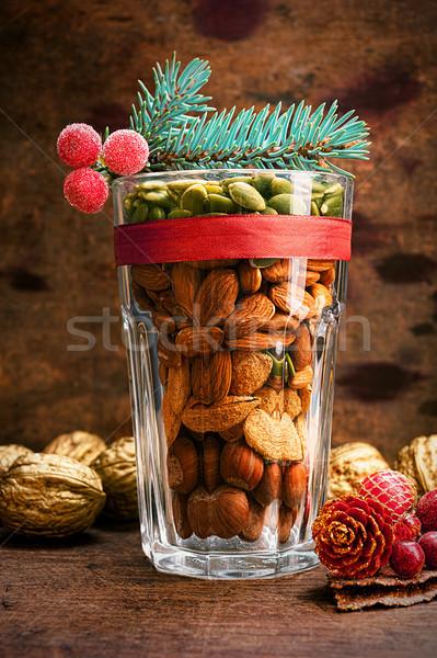 Vidro nozes natal decoração variedade Foto stock © Coffeechocolates