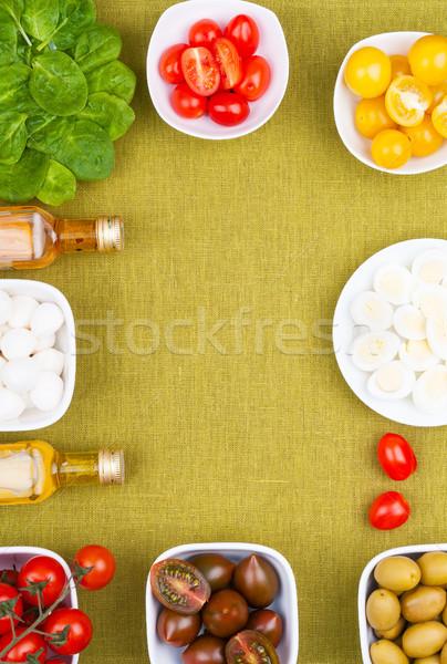 Primavera salada conjunto ingredientes comida folha Foto stock © Coffeechocolates