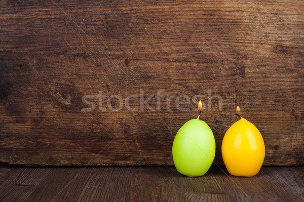 Páscoa memórias velas forma ovos Foto stock © Coffeechocolates