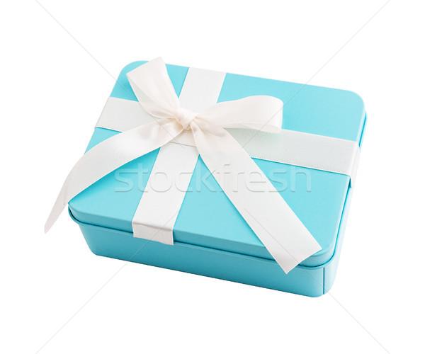 Négyszögletes ajándék doboz fehér íj fém lila Stock fotó © Coffeechocolates