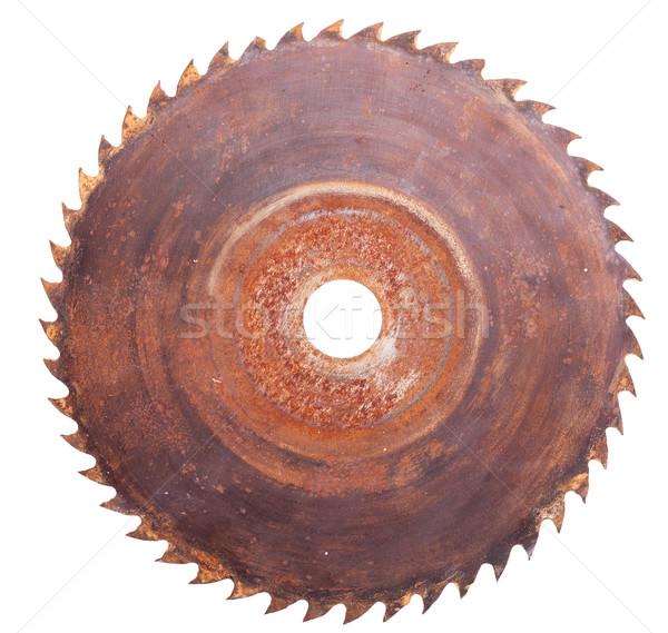Zag oude roestige geïsoleerd witte Stockfoto © Coffeechocolates