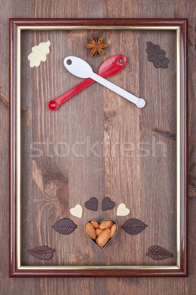 Kulinarny ramki płaszcz broni przestrzeni Zdjęcia stock © Coffeechocolates