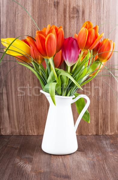 Tulips in a jar Stock photo © Coffeechocolates
