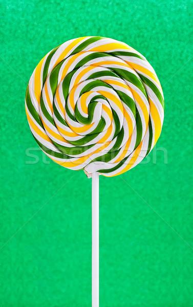 Spiralis pirulito verde brilhante brilho doce Foto stock © Coffeechocolates
