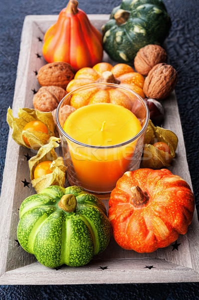 Tray with autumn harvest on textural background Stock photo © Coffeechocolates