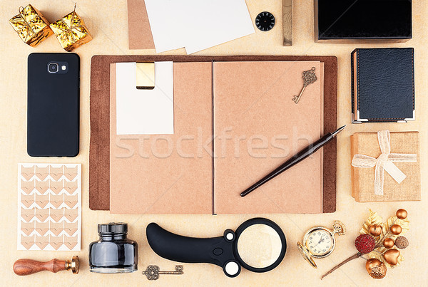 Open working notepad with brown kraft paper Stock photo © Coffeechocolates