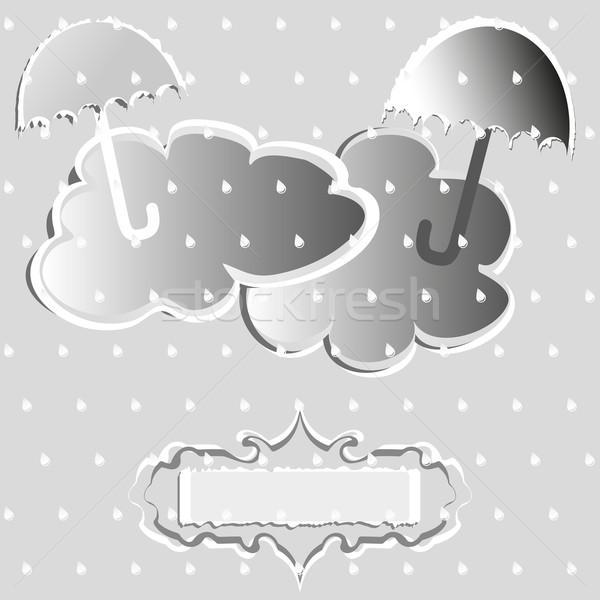 Outono cartão recados estilo vetor nuvens Foto stock © Coffeechocolates