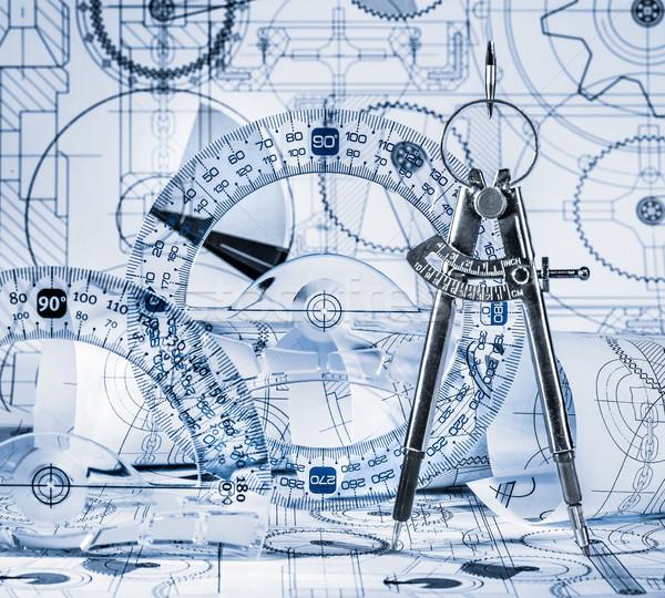 Tecnica disegni blu costruzione design tecnologia Foto d'archivio © cookelma