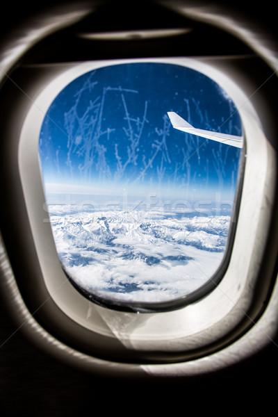 Frost Flugzeug Glas Fenster Bild Stock foto © cookelma