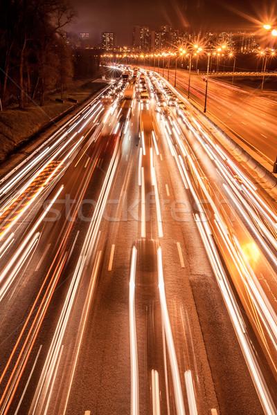 Photo stock: Nuit · vitesse · trafic · route · ciel · résumé