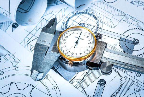 Foto stock: Bola · metal · técnico · desenho · azul · construção