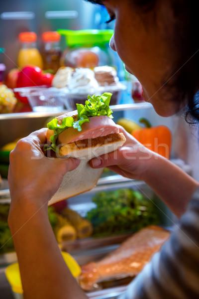 Aç kadın sandviç eller ayakta Stok fotoğraf © cookelma