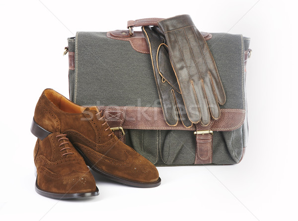 Breve caso guanti scarpa bianco business Foto d'archivio © cookelma