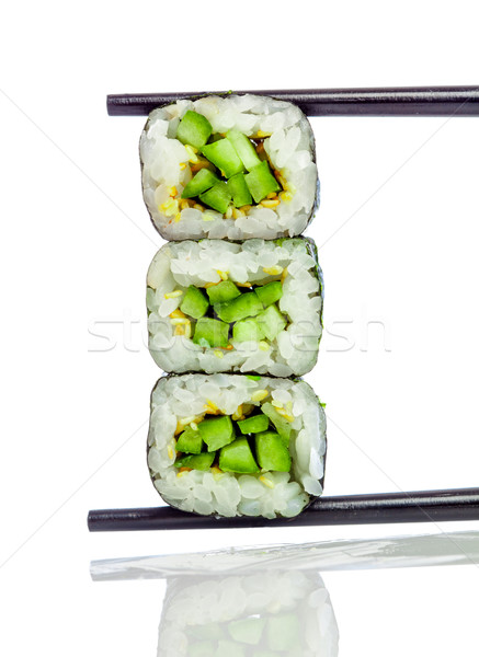 Stock photo: Sushi Roll (Kappa maki roll) on a white background