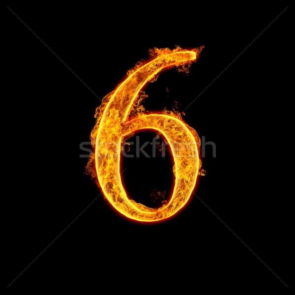 Fire alphabet number 6 six Stock photo © cookelma