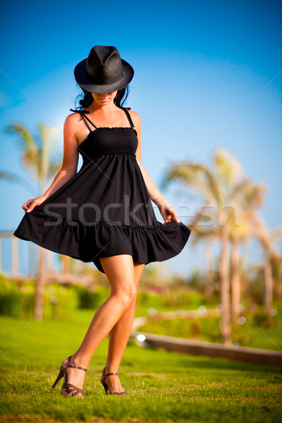женщину девушки черное платье Hat моде лет Сток-фото © cookelma