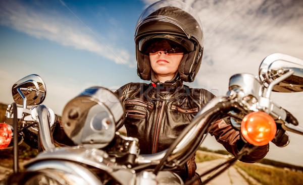 Motoros lány motorkerékpár bőrdzseki sisak szexi Stock fotó © cookelma