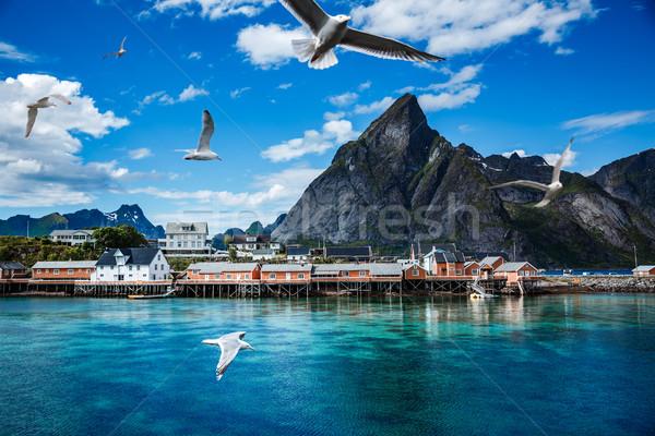Szigetvilág szigetek Norvégia díszlet drámai hegyek Stock fotó © cookelma