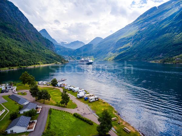 Geiranger fjord, Norway aerial photography. Stock photo © cookelma