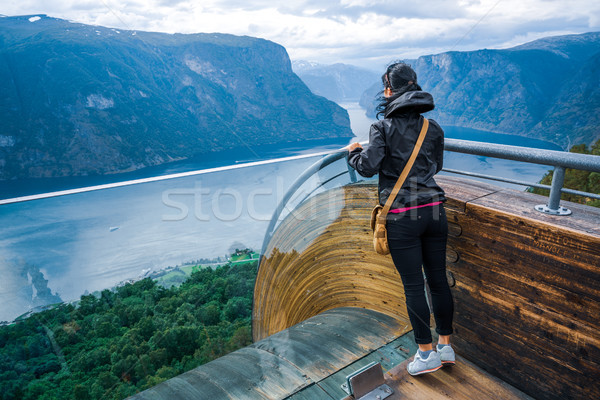 Stegastein Lookout Beautiful Nature Norway observation deck view Stock photo © cookelma