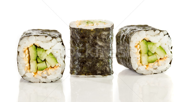 Sushis rouler maki blanche poissons fond Photo stock © cookelma