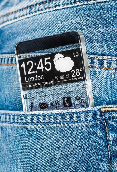Transparente tela bolso jeans exibir Foto stock © cookelma