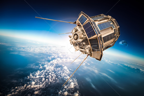 Ruimte satelliet aarde aarde communie afbeelding Stockfoto © cookelma