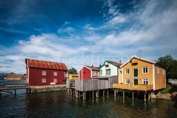 Edad casas Noruega cielo belleza Foto stock © cookelma