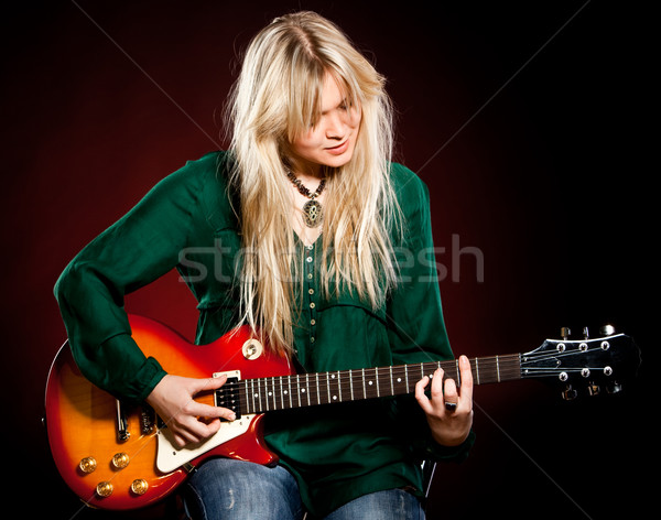 girl with a guitar Stock photo © cookelma
