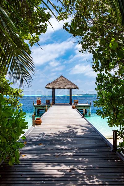 Maldivler yer plaj düğün güneş doğa Stok fotoğraf © cookelma