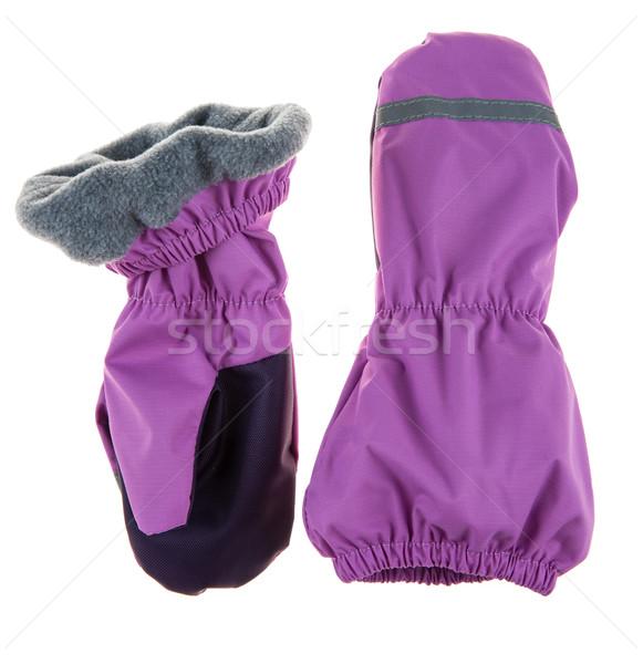 Ujjatlan kesztyűk fehér kezek hó háttér tél Stock fotó © cookelma