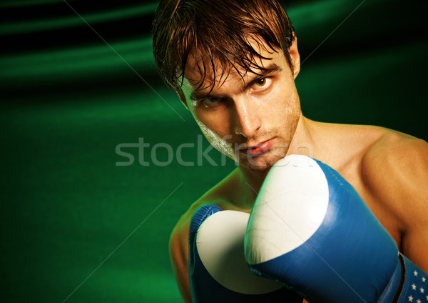 Man sweating all over in boxing gloves Stock photo © cookelma