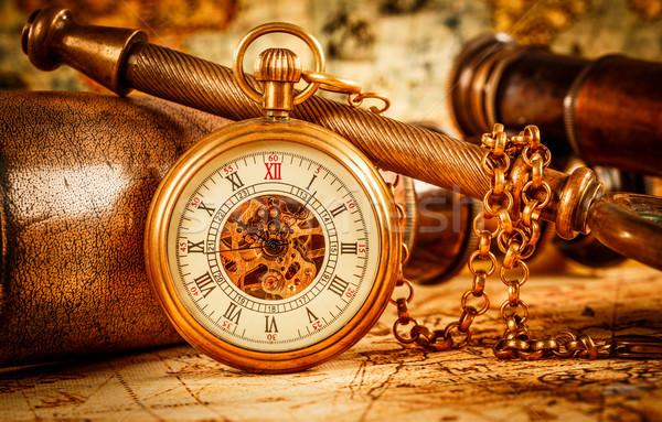 ヴィンテージ 懐中時計 アンティーク 背景 時間 チェーン ストックフォト © cookelma