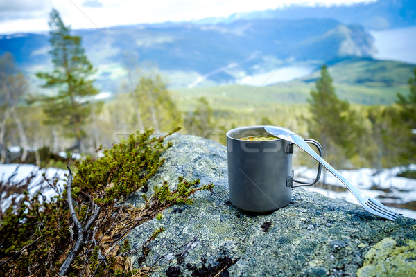 Viajar titânio copo almoço jornada Foto stock © cookelma