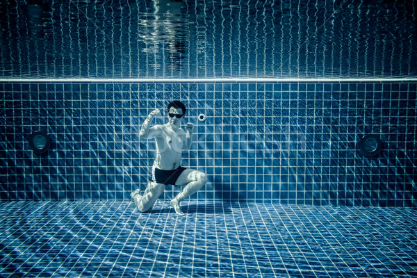 Underwater pool portraying Superman Stock photo © cookelma