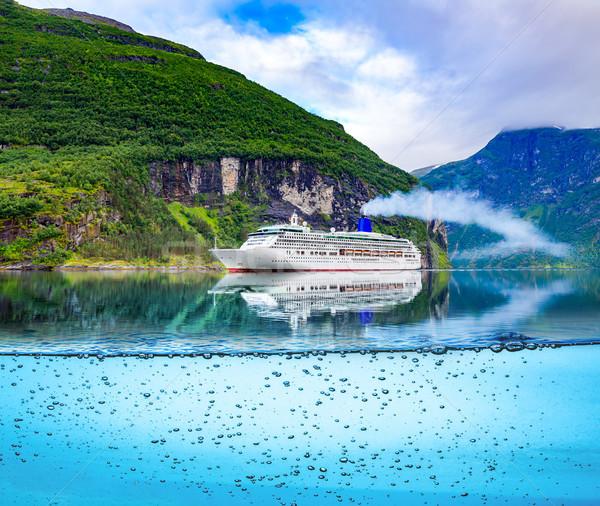 Hajóút Norvégia tengerjáró hajó égbolt tavasz erdő Stock fotó © cookelma