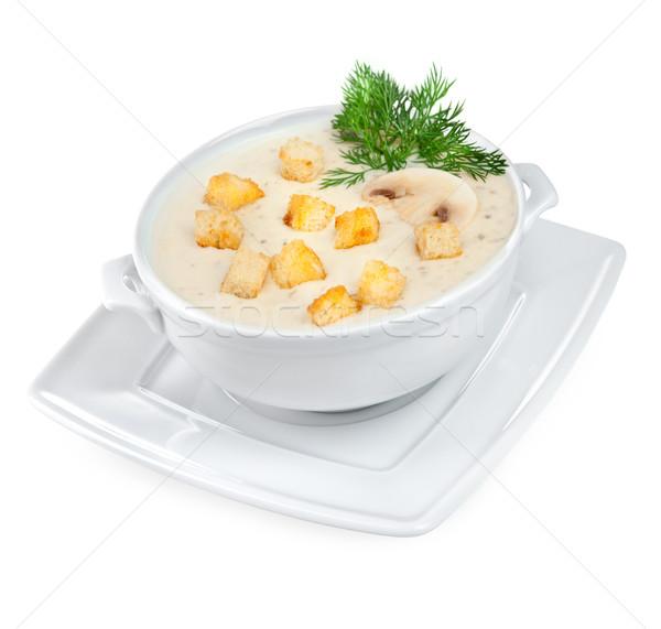 Stok fotoğraf: Mantar · çorba · beyaz · gıda · restoran · akşam · yemeği