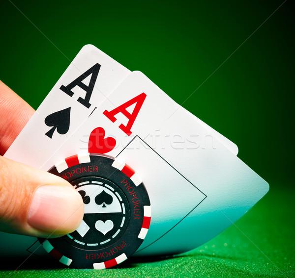 два Тузы чипов зеленый покер Сток-фото © cookelma