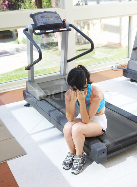 girl cries at a sports training apparatus Stock photo © cookelma