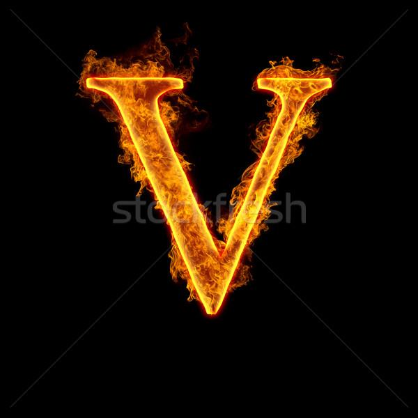Fire alphabet letter V Stock photo © cookelma