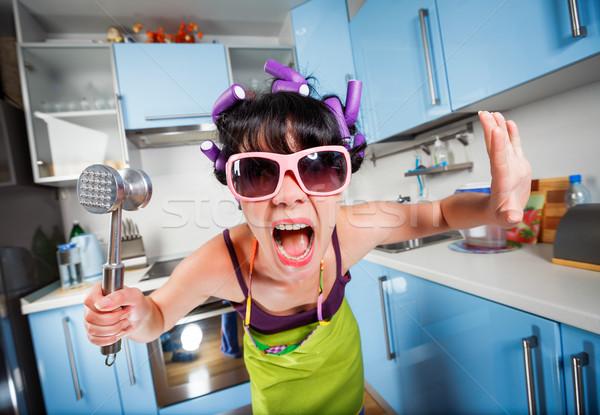 Foto d'archivio: Crazy · casalinga · interni · cucina · famiglia · problemi
