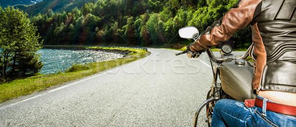 Motoros lány kilátás motorkerékpár eső nap Stock fotó © cookelma